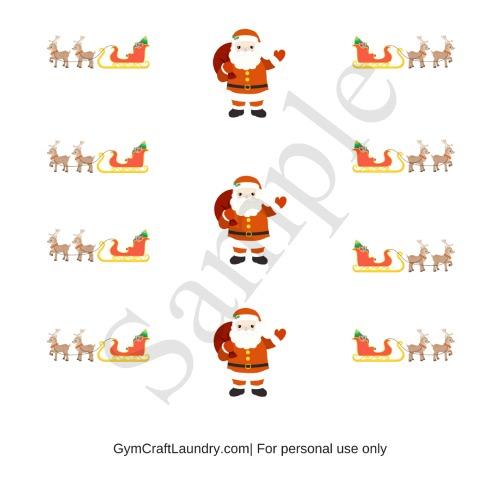Sleigh and Santa printable stickers sample
