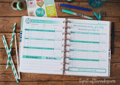 Happy planner fitness insert
