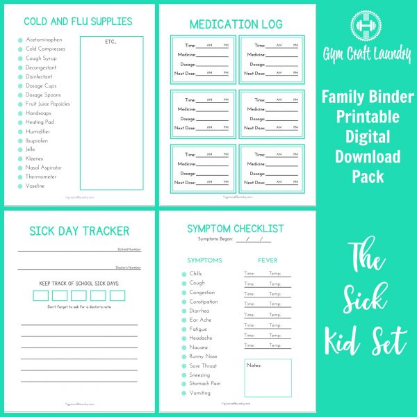 Sick kid printable set. Track your kid's health in your family binder.