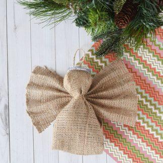 brown burlap angel ornament
