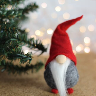 Small swedish inspired gray and red felt gnome