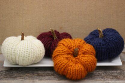 Handmade knit pumpkins